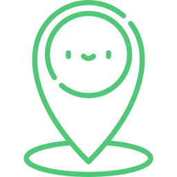 An Icon depicting a google maps style map marker, with a cute smiley face.